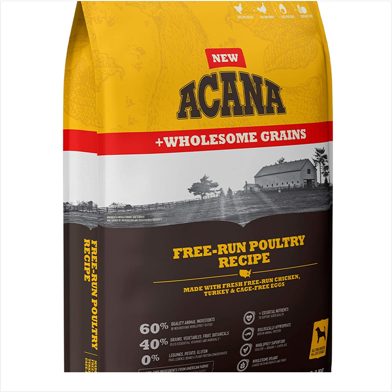 ACANA Free Run Poultry Wholesome Grains Dry Dog Food Formula 11.5 Pound Bag (New)