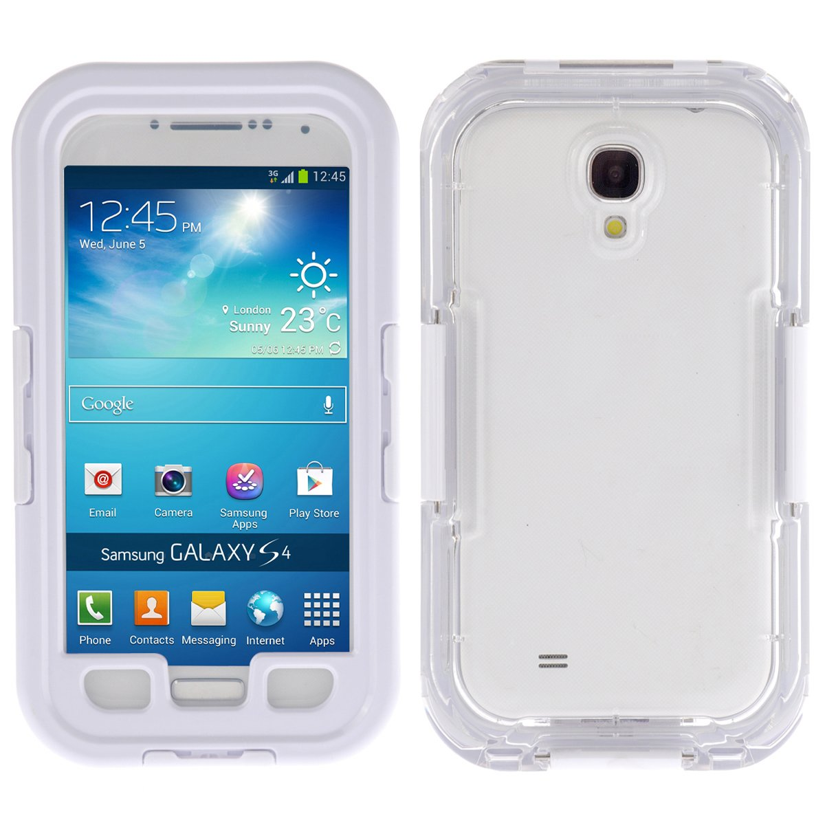 HOUZON® Funda Carcasa Acuatica Sumergible para Samsung Galaxy S4 Blanco