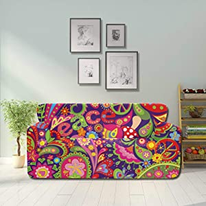 YUMOING Tribal Ethnic Flower Paisley Peace Sign Sofas Covers for Living Room Sofa Cover Cushion Fitted Furniture Protector 2&3 Seat Sofas