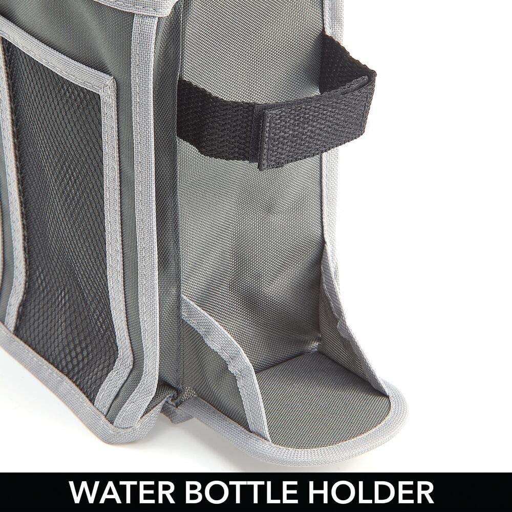 Gris Organizador de Tela con 4 Compartimentos y Soporte para Botellas m/óvil Organizador con Bolsillos de poli/éster para Libros etc Botella revistas mDesign Bolsa para Colgar de la Cama