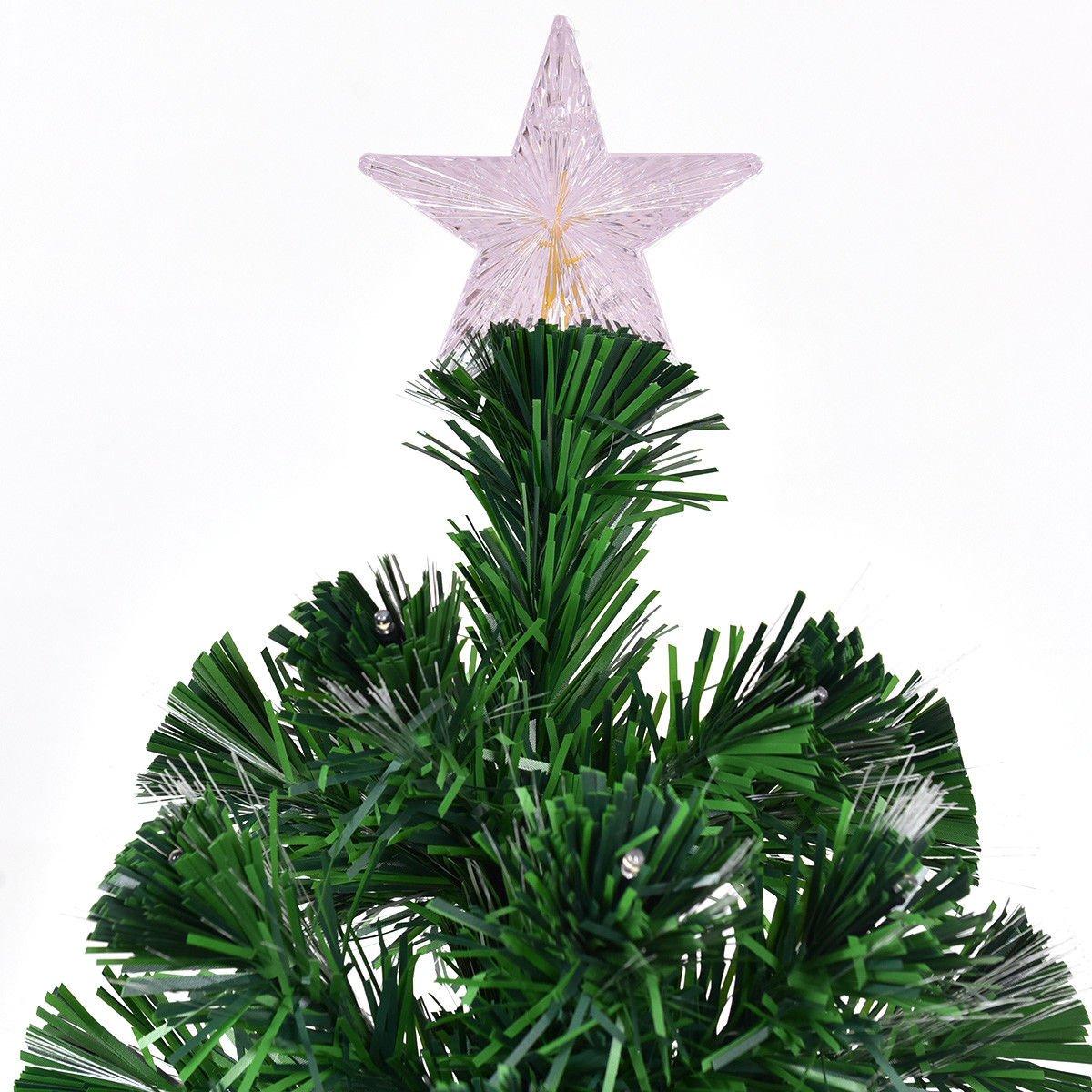 Amazon.com: Goplus 7FT Artificial Christmas Tree Pre-Lit Optical ...