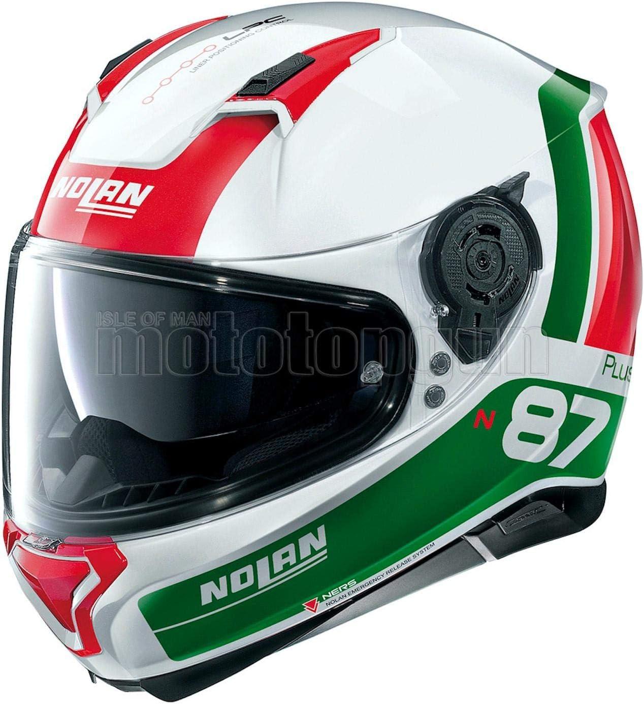 S MOTOTOPGUN NOLAN MOTORRAD INTEGRALHELM N87 PLUS DISTINCTIVE METAL WEISS 029 SZ