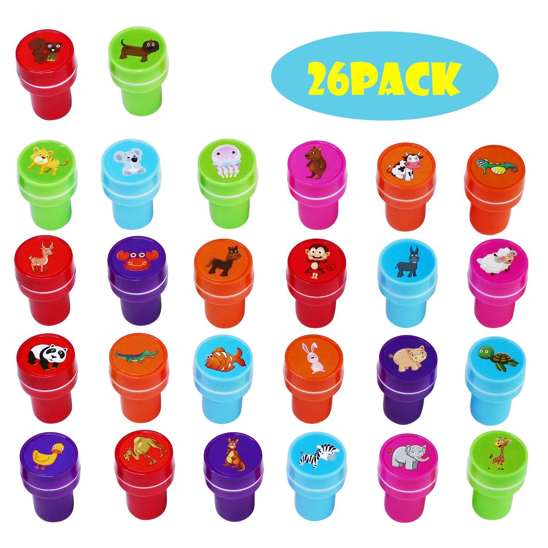 26 Stück Tier Stempel zum Selbermachen und Färben, 26 verschiedene Tiere, 5 verschiedene Tintenfarben (style 1) MKISHINE