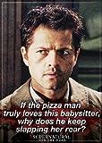 """Ata-Boy Supernatural - Castiel """"Pizza Man…"""" 2.5"""" x 3.5"""" Magnet for Refrigerators and Lockers"""