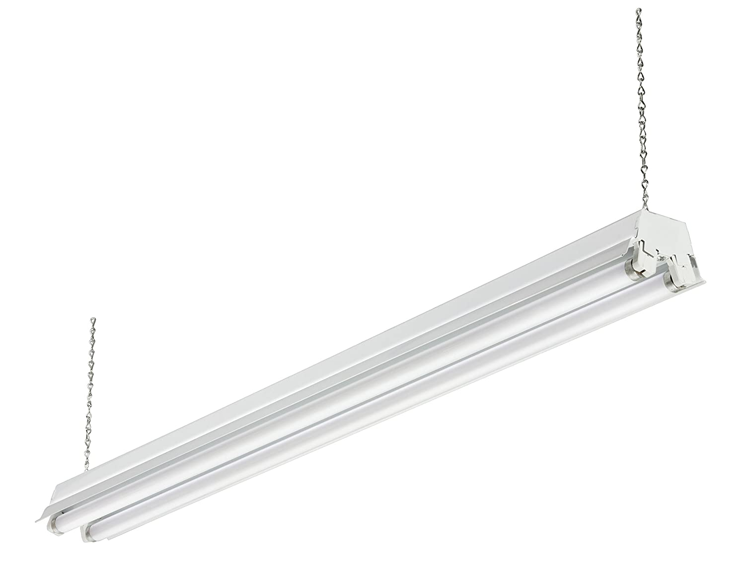 Amazon lithonia lighting 1245 shoplighth2h183 2 light amazon lithonia lighting 1245 shoplighth2h183 2 light fluorescent shop light polished silver home improvement arubaitofo Images