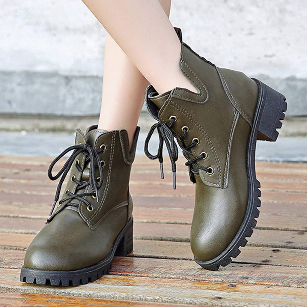 ✪COOLGIRLS✪~Shoes Women's Casual Side Zipper Ankle Short Boots Thick Heels Leather Shoes Solid Color Square Toe Boots Shoes Lace-Up Boots Shoes Autumn and Winter Square Head Thick Heel Boots by ✪COOLGIRLS✪~Shoes