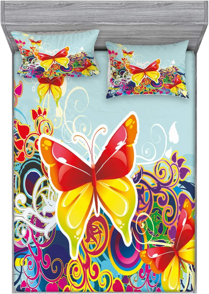 Ambesonne Colorful Fitted Sheet & Pillow Sham Set, Butterflies and Floral Ornamanets Fantasy Design Colorful Vibrant Wings Artwork, Decorative and Printed 3 Piece Bedding Set, Queen, Ice Blue