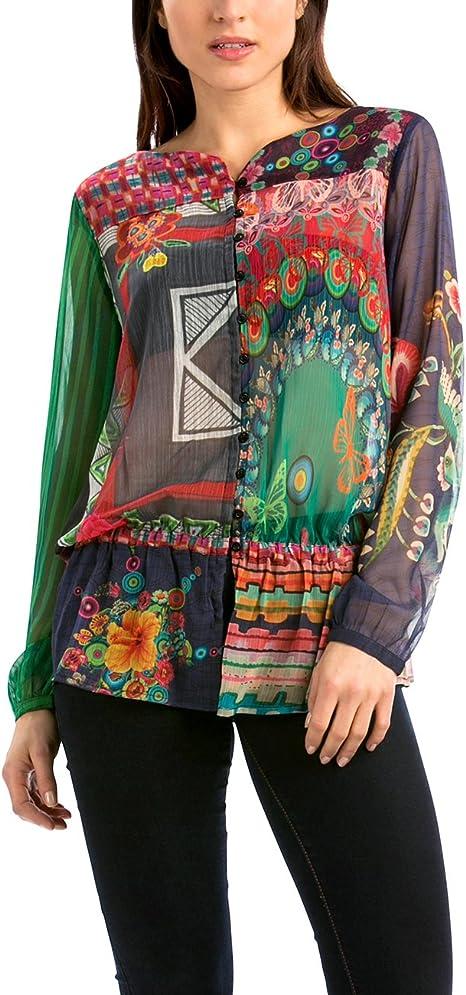 Desigual Katyana Camisa, Grün - Green (Verde Free), 36 para Mujer: Amazon.es: Ropa y accesorios