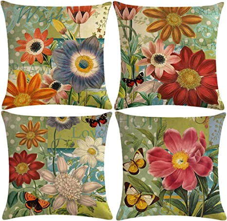 Amazon Com 7colorroom 4pack Flower Pillow Covers Colorful Floral Leaves With Quotes Hope Dream Wish Love Cushion Cover Cotton Linen Home Decorative Square Pillowcases 18 18 For Sofa Beds Gifts Green Red Home Kitchen