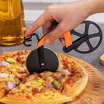 Rullo per tagliapizza per Uso Alimentare Doppia Pizza in Acciaio Inossidabile con Rivestimento Antiaderente Sarto con Supporto per Feste KKSJK Tagliapizza per Bicicletta Regali cucine ECC.