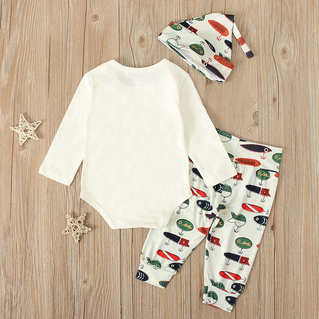 Infant Autumn Sets,Jchen Newborn Baby Girls Boys Letter Print Romper+Cartoon Fish Pants+Hat Casual Outfits for 0-18 Month