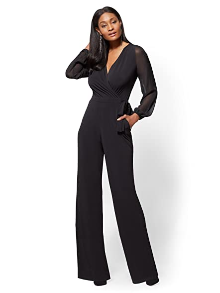 Amazon.com: New York & Co. Women\'s Statement-Sleeve Wrap Jumpsuit ...