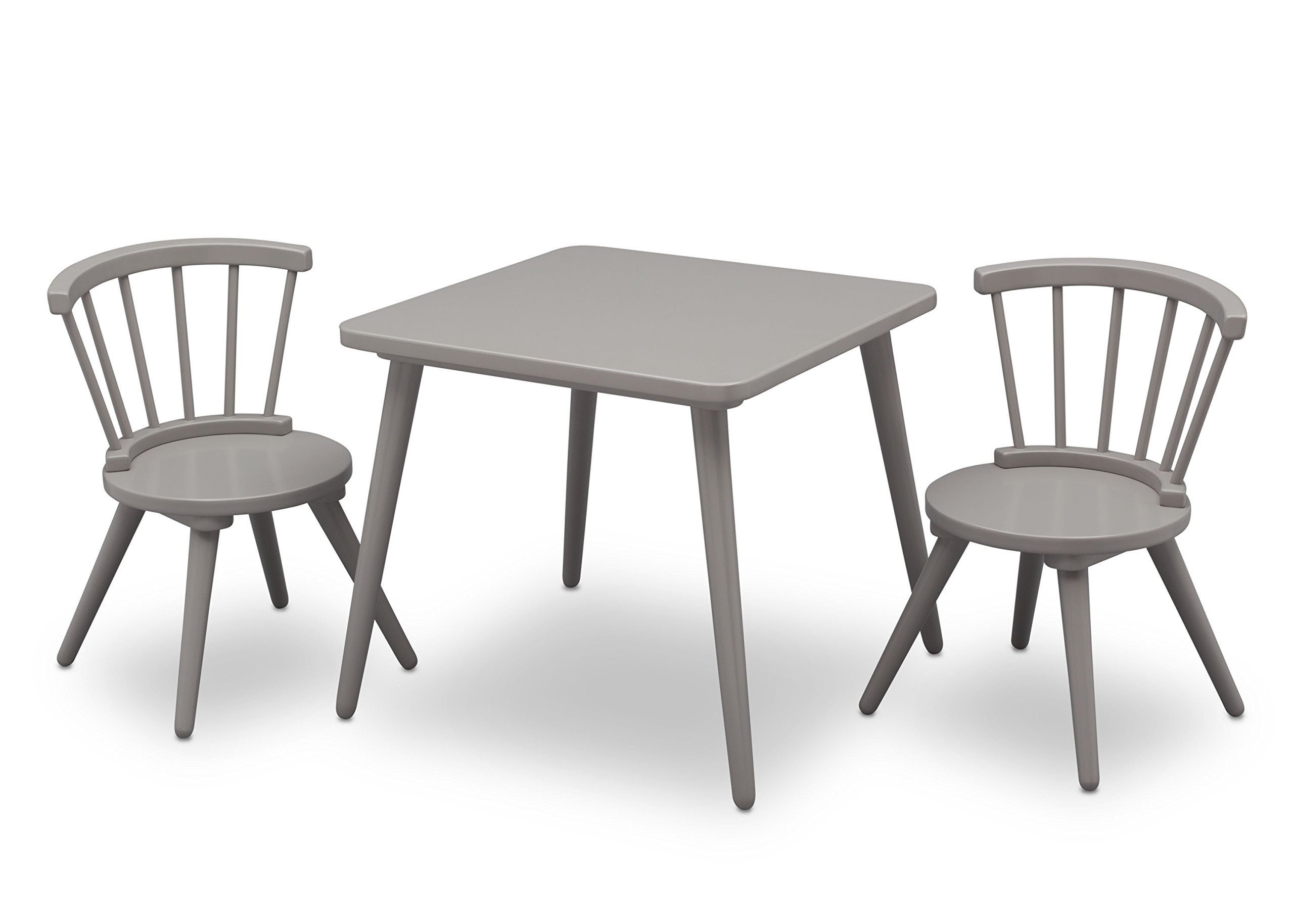 Delta Children Windsor Kids Wood Chair Set and Table (2 Chairs Included), Grey by Delta Children