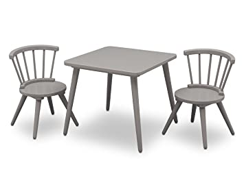 Delta Children Windsor Kids Wood Table and Chair Set (2 Chairs Included) Grey  sc 1 st  Amazon.com & Amazon.com: Delta Children Windsor Kids Wood Table and Chair Set (2 ...