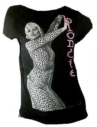 e54170d8 Amplified Damen Lady Viskose Tunika T-Shirt Schwarz Black Official The  Blondie Merchandise Debbie Harry 80 er Kult Rock Pop Star ViP Rockstar:  Amazon.de: ...