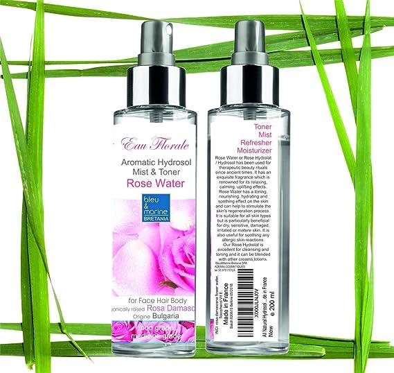 Hidrolato de Rosa Bio 200 ml ○ Agua Floral Organica de Rosa de Bulgaria ○ Tónico y Limpiador Facial 100% Natural ○ Hidratante Piel Sensible ○ Calmante ...
