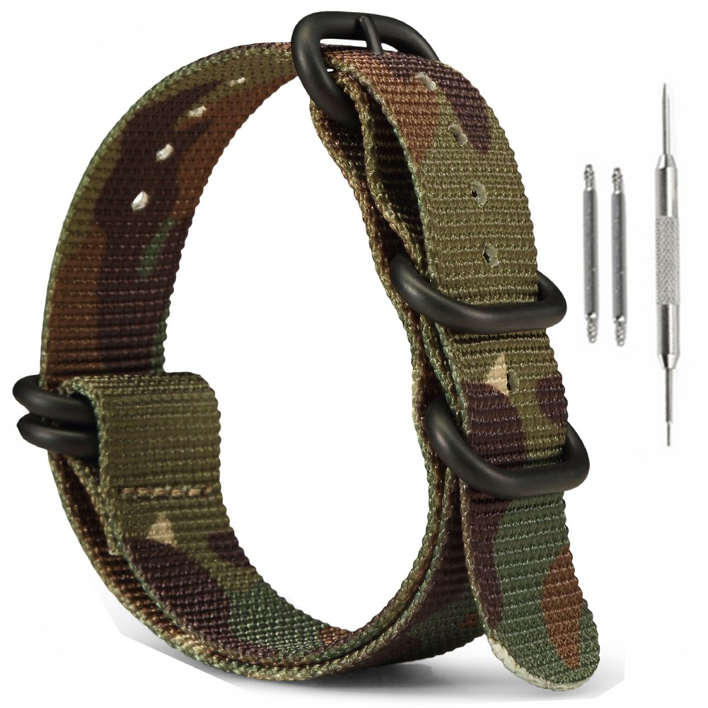 MilitaryナイロンZulu時計ストラップ、ownitow 20 mm 22 mm 24 mm陸軍グリーン手首腕時計バンドwithスプリングバーfor Men and Women 22mm Army06/Black Bukle Army06/Black Bukle 22mm B079JTZSFK