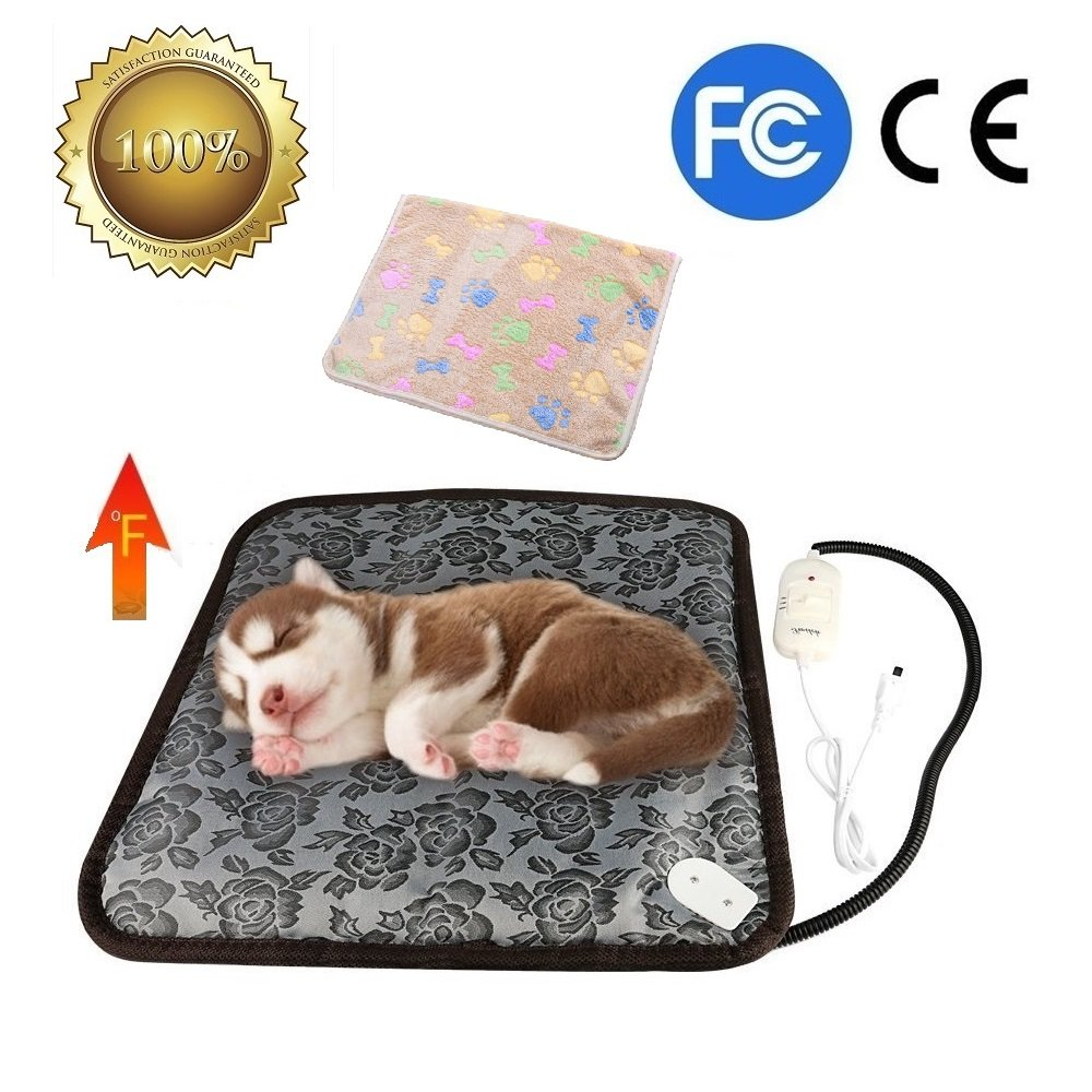 Pet Heating Pad, YQW Dog Cat Electric Heating Pad Indoor Waterproof Adjustable Warming Mat with Chew Resistant Cord 17.7''x17.7''