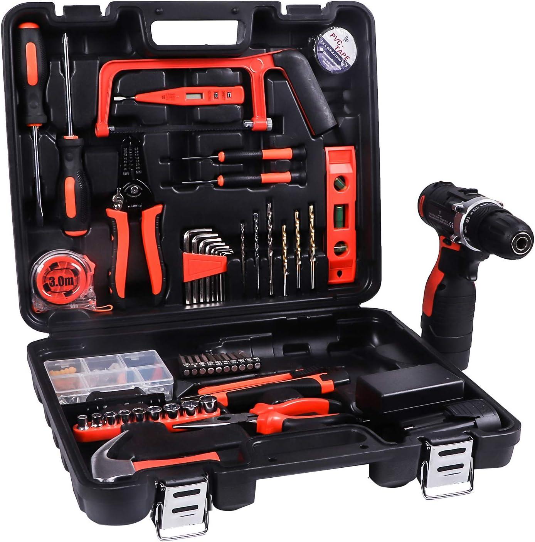 LETTON Werkzeugkoffer mit Bohrmaschine 21V Batterie f/ür 108 Zubeh/örteile Home Cordless Repair Kit Werkzeugset Blau