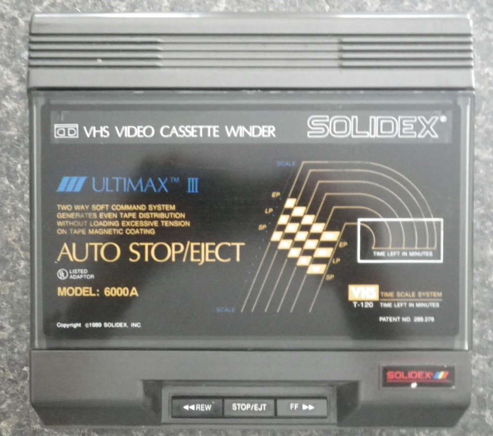 Solidex VHS Video Cassette Rewinder 6000A