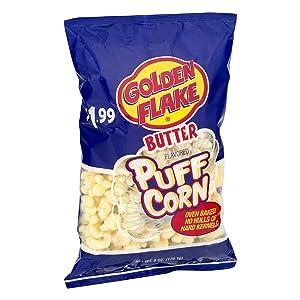 Golden Flake Puff Corn Butter, 6 oz Bags (Pack of 4)