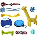BUENTEK Dog Toys Set 10 Pack Gift Set, Ball Rope and Chew Squeaky Toys for Small to Big Dog