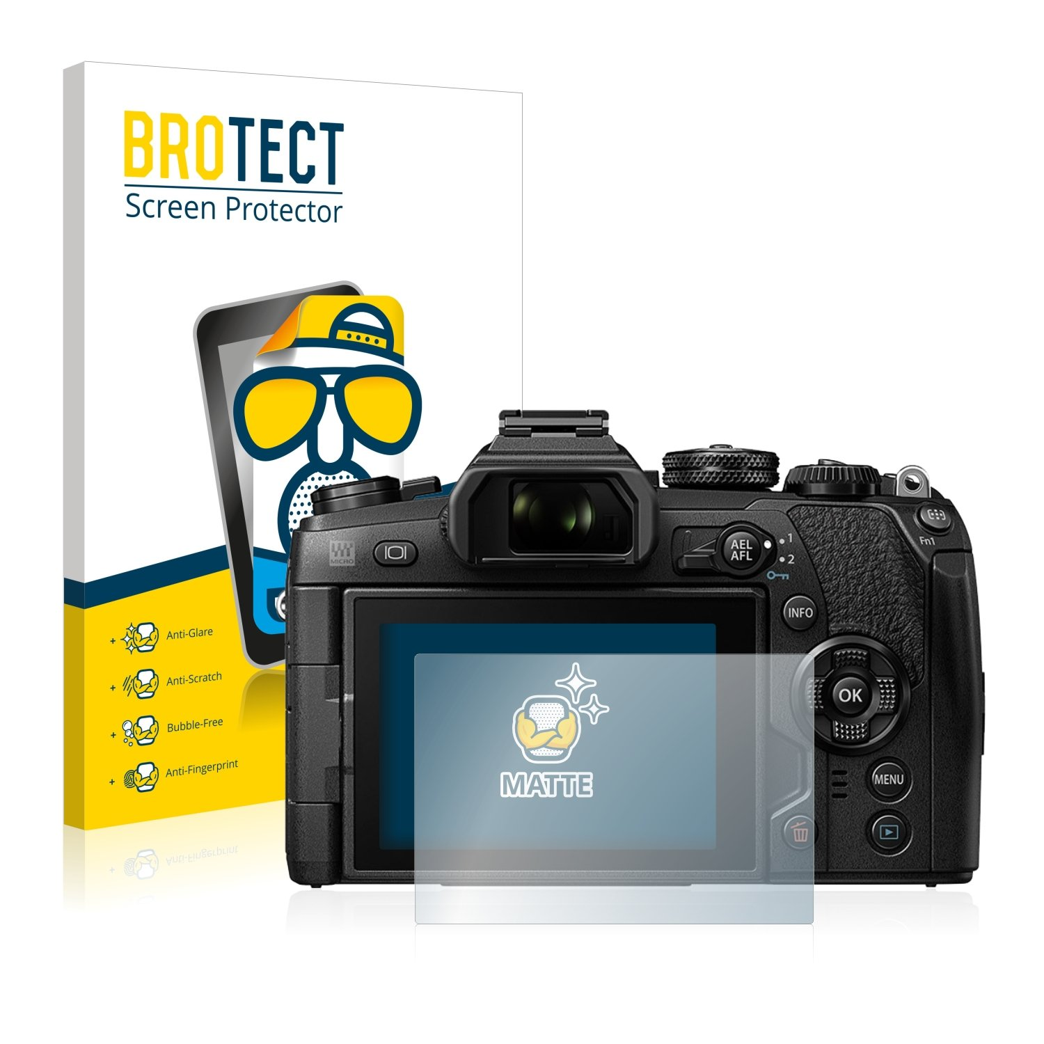 2 Pack BROTECT Anti-Glare Screen Protector compatible with Olympus OM-D E-M1 Mark II