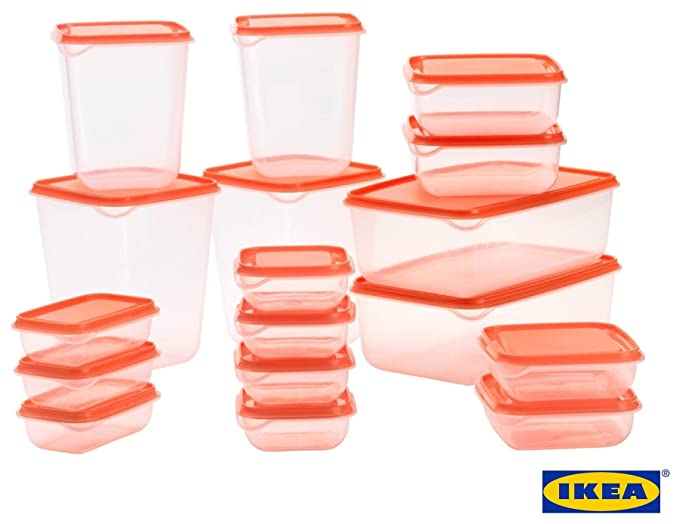 2 opinioni per IKEA PRUTA Standard Durable Plastic Storage Food Containers of 17 Pieces For