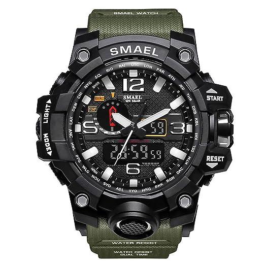 Relojes Hombre Reloj de Pulsera Hombre Reloj Deportivo Militar Reloj Smart Moda Reloj de Pulsera Reloj Pulsera Digital LED-Military M Green-WCH1545-MMGR: ...