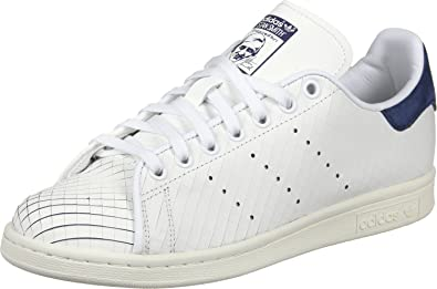 adidas Originals Baskets Stan Smith Blanc Bleu Marine Femme