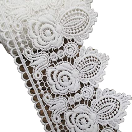4 Inches Wide Rayon Lace Trims Skirt Dress Extender Home Decor DIY Supply In White Unit