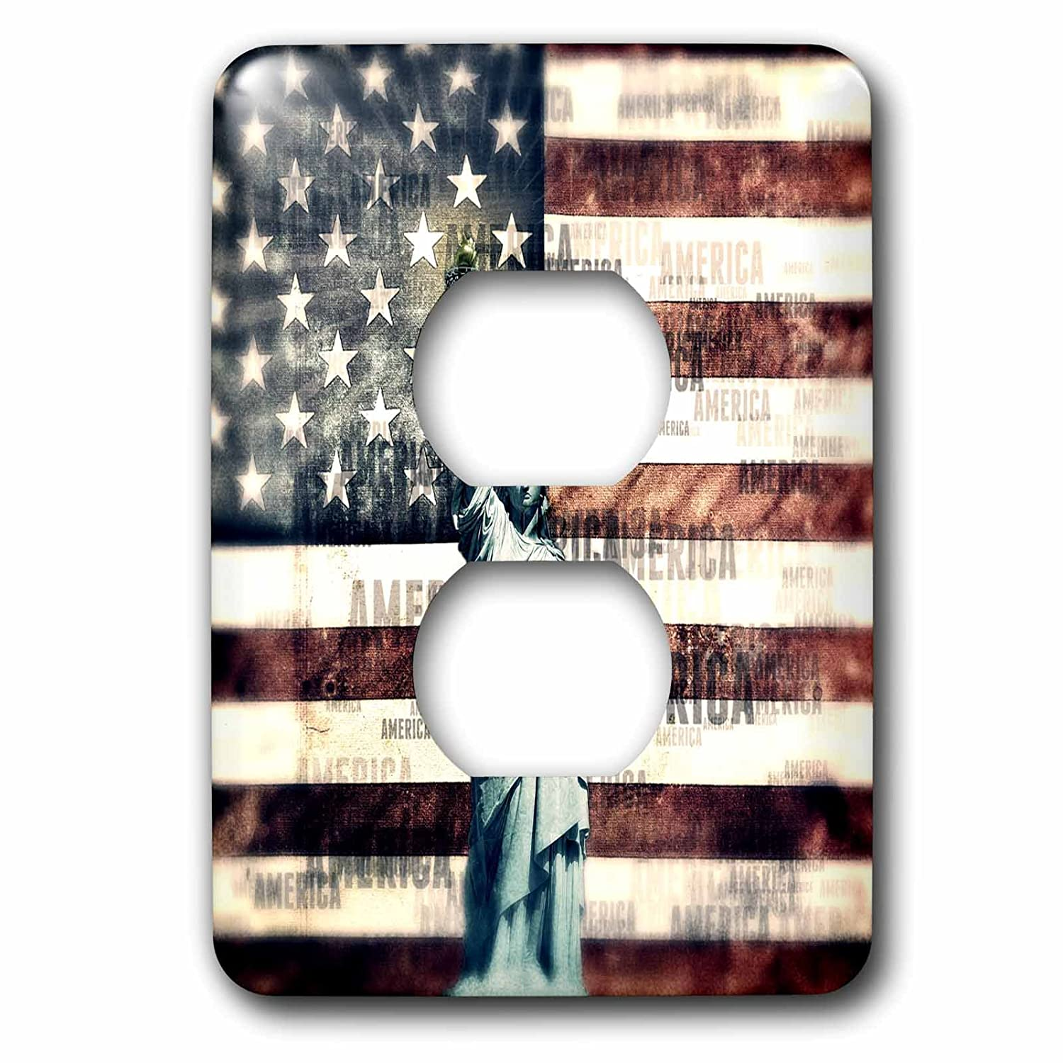 3dローズLSP 243444 _ 6 Vintage Patriotic Statue of Liberty with American Flag 2プラグコンセントカバー B01LYU9MGD