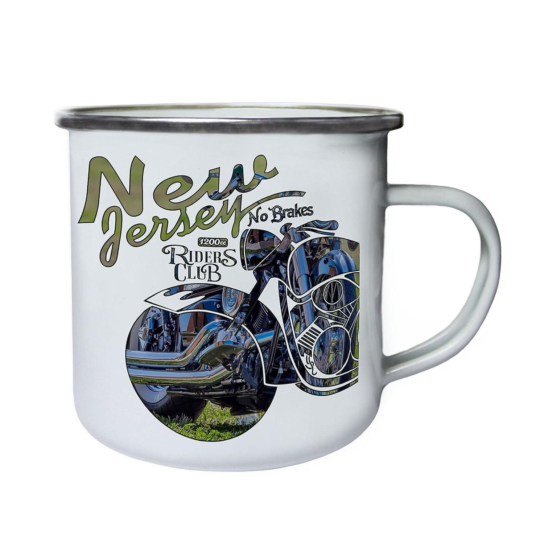 Nueva Jersey Riders Club No Brakes MotorBike Retro, lata, taza del esmalte 10oz/280ml aa507e INNOGLEN