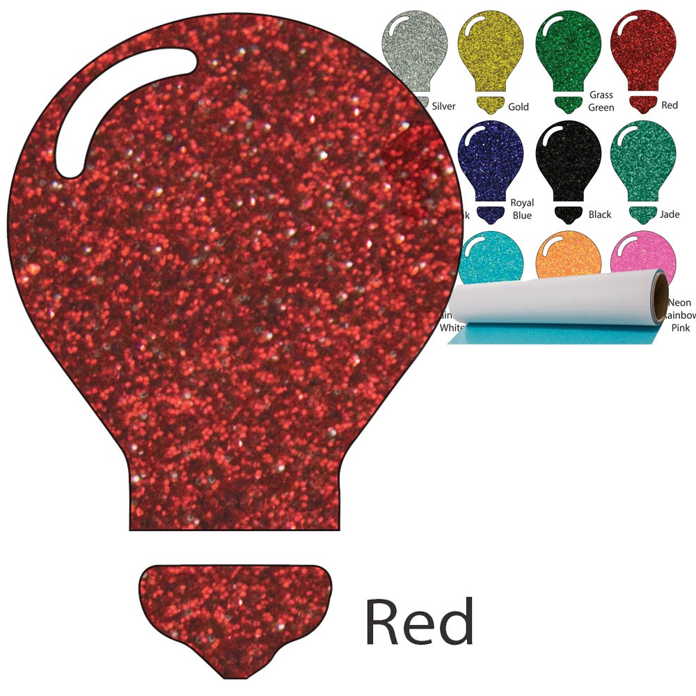 Color Theory Glitter Heat Transfer Vinyl (HTV) 20'' x 5yd Red