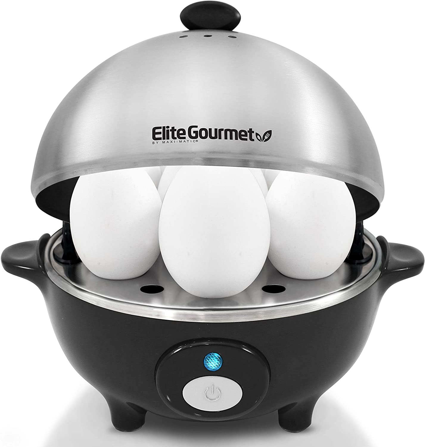 Elite Cuisine EGC-508 Egg Poacher, Omelet & Soft, Medium, Hard-Boiled Egg Cooker with Auto-Off, Buzzer and Stainless Steel Tray, 7 Egg Capacity, Black