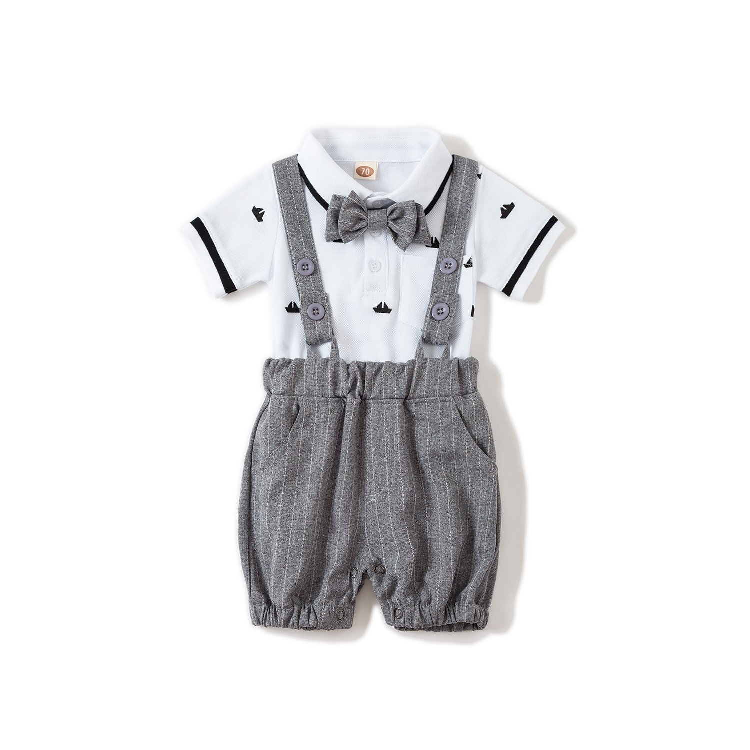 US Baby Boys Gentleman Jumpsuit Outfits Suits Bow Tie Overalls Clothes Set(0-6Months)