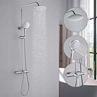Duschsystem Regendusche /Φ22.6 cm Duscharmatur mit Handbrause 3 Strahlarten. KAIBOR moderne Dusche mit multifunktionaler Ablage h/öhenverstellbar