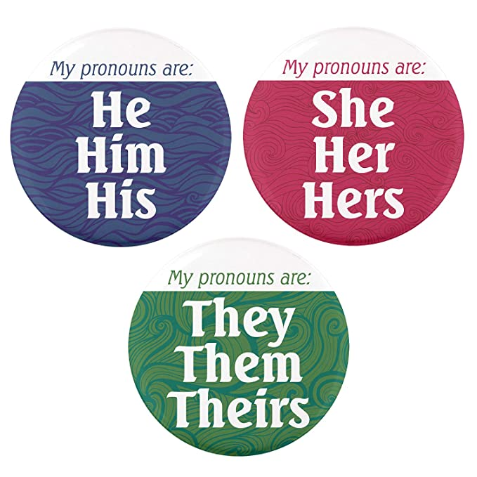 Buttonsmith Pronoun Pinback Button - Union Printed and Union Made - Set of  12 Buttons - He, She, They - Made in the USA