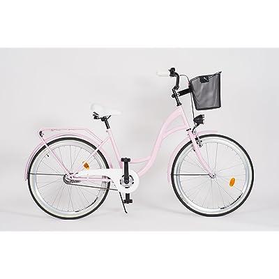 Milord. 2018 Vélo de Confort avec Panier, Byciclette, Vélo Femme, Vélo de ville, 1 Vitesse, Rose, 28 Pouces