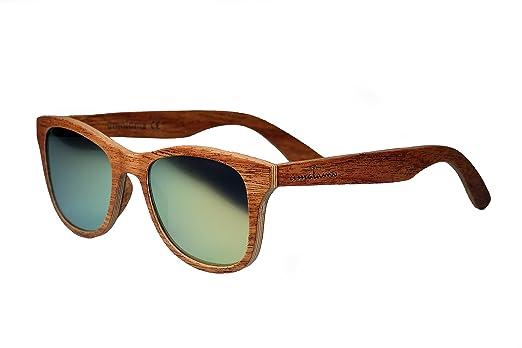 amoloma S Holz Sonnenbrille Birnbaum / Der Rahmen der Brille besteht aus Birnbaum Holz / Wayfarer Style / unisex (Champagner Gold matt verspiegelt) 1Q6vfgZ