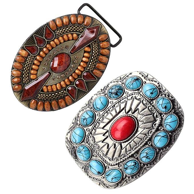 2Pcs Mens Western Bohemian Indian Native American Jeans Vintage Belt Buckle