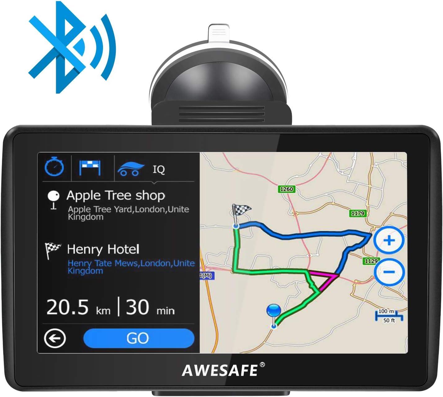 AWESAFE Navegador GPS para Coches de 7 Pulgadas con Bluetooth con 22 Tipos PDIs y Planificaciones Inteligentes de Rutas (con Mapas Recientes y Actualizaciones de por Vida)