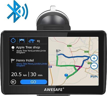 Navegador GPS para Coche y Cami/ón con Actualizaciones de Mapas de Europa de por Vida AWESAFE 9 Pulgadas GPS Camiones con Bluetooth Pantalla LCD