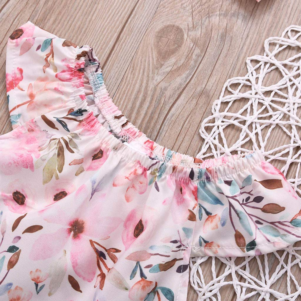 Gonxifacai Summer Newborn Infant Baby Girls Sleeveless Floral Cotton Romper Bodysuit Clothes Sets