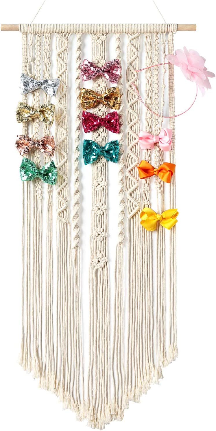 Set of 3 White Wood Shelf Wall Mounted Hanging Jewelry Organizer Mkono Hair Bow Holder for Girls Hanging Hair Clips Hanger Headband Storage Shelves with Removable Golden Metal bar and 10 Hooks