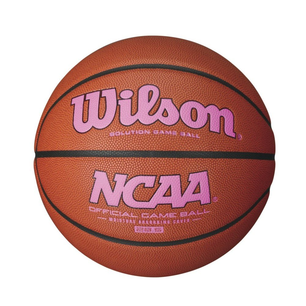 Wilson NCAA Intermediate Size Game Basketball with Pink Logo, Brown