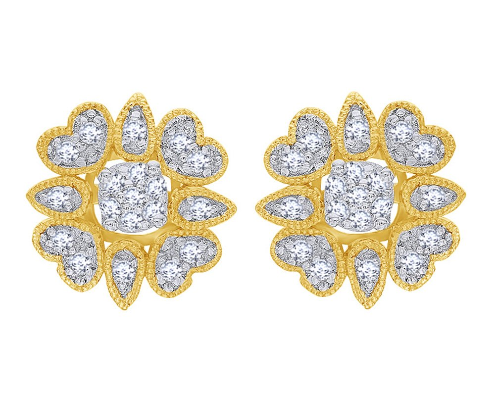 Round Cut White Natural Diamond Stud Earrings and Flower Jacket Set in 10K Solid Yellow Gold (0.33 Cttw) by Wishrocks