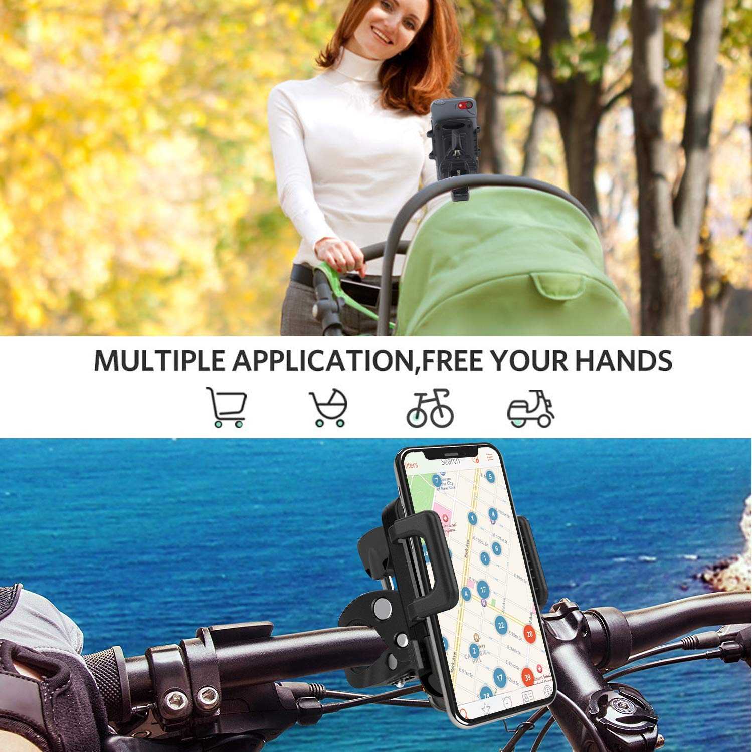 Eocean 360/° Rotatable Adjustable Silicone Phone Holder for Bike Bycicle Universal Bike Cell Phone Mount for Ring Light Tripod Compatible with iPhone Xs//Xr//Xs Max//X//8//8Plus//7//Galaxy Note 9//S9//Huawei