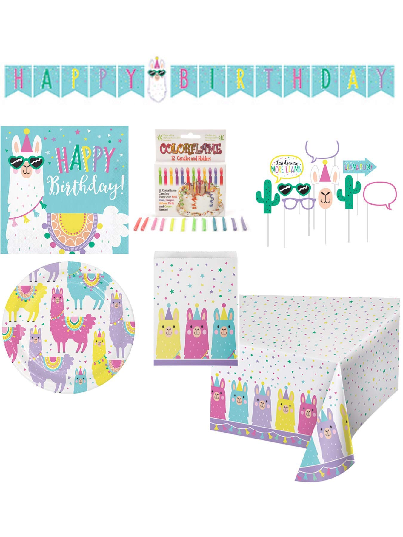 Llama Themed Happy Birthday Paper Party Supplies Serves 16 Cake Plates, Beverage Napkin, Banner, Table Cover, Photo Props, Loot Bags, Candle and Grandma Olive's Recipe