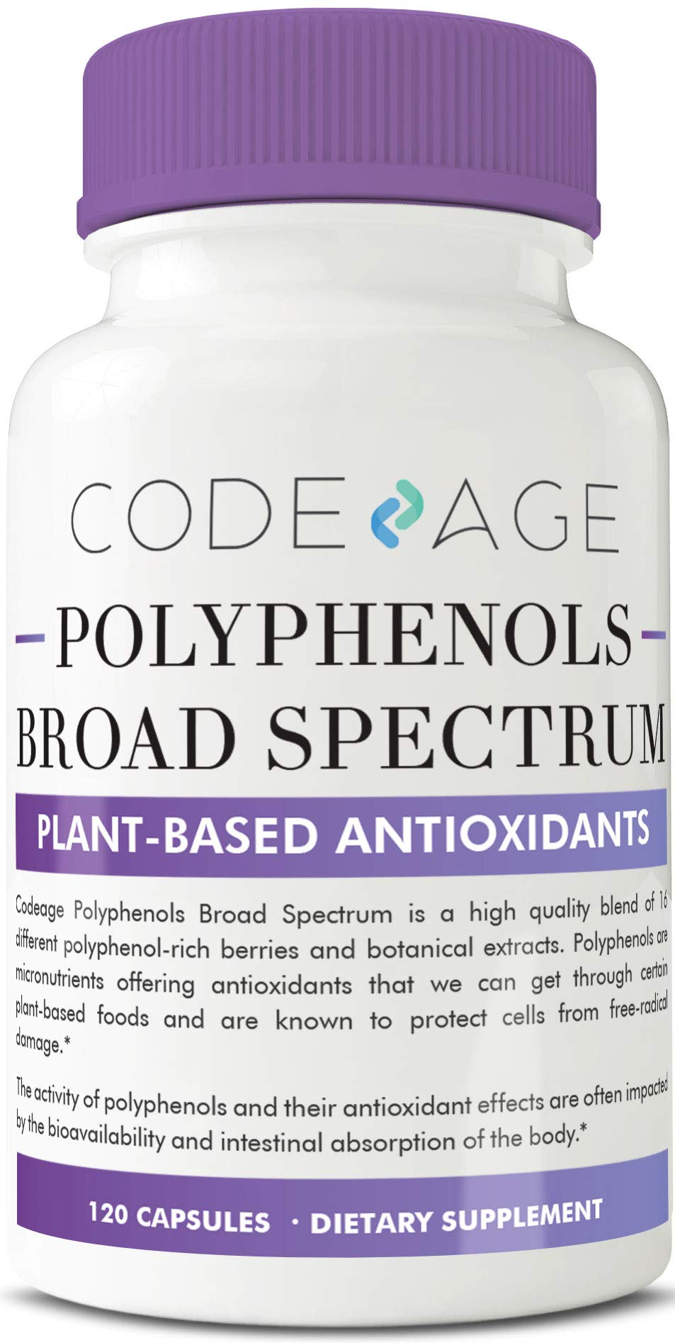 Codeage Protective Polyphenol Supplement Nutrients to Defend Against Free Radicals, Broad Spectrum Plant Based Antioxidants with Natural Resveratrol Non GMO, 120 Capsules by Codeage